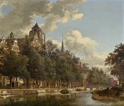 View Down A Dutch Canal Print by Jan Van Der Heyden