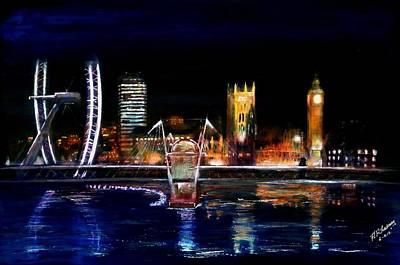 London Eye Painting - View Fom The Bridge by Andrew Roy Thackeray