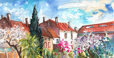 Tree Blossoms Drawing - View From The Trefle Window In Albi by Miki De Goodaboom