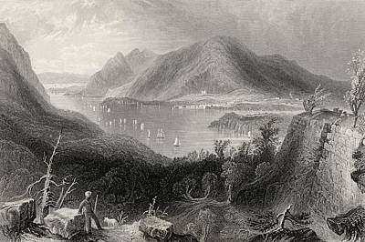 River Scenes Drawing - View From Fort Putnam Hudson River Usa by Vintage Design Pics