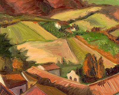 View From San Gimignano II Print by Jennie Traill Schaeffer