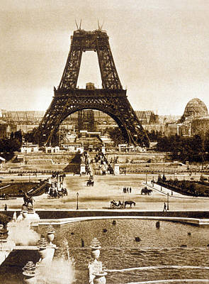 View From The Chaillot Palace Of The Eiffel Tower Being Built Print by French School
