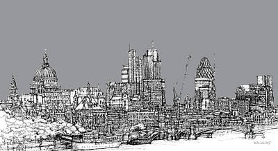 London Skyline Drawing - View From The Southbank With Summer In Cool Grey  by Adendorff Design