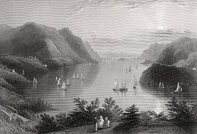 River Scenes Drawing - View From West Point Hudson River Usa by Vintage Design Pics