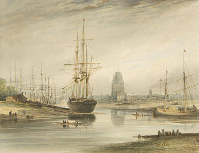 View Looking Up The River, Taken From Below The Rope Walk And Wapping Print by Thomas Leeson the Elder Rowbotham