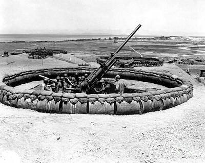View Of A 90mm Aaa Gun Emplacement Print by Stocktrek Images