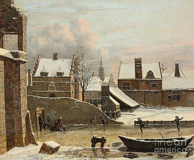 Winter Painting - View Of A City In Winter With Ice Skaters by Celestial Images