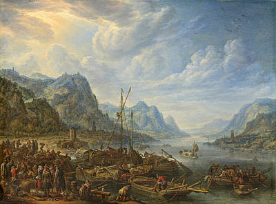 Herman Saftleven Painting - View Of A River With Boat Moorings by Herman Saftleven