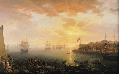 View Of Brest Harbor Print by Jean Francois Hue