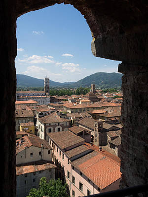 Lucca Photograph - View Of Buildings Through Window by Panoramic Images