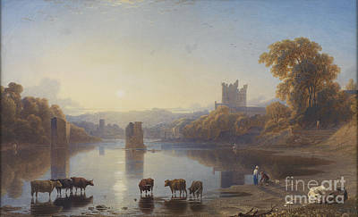 Northumberland Painting - View Of Bywell Castle by George Fennel