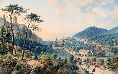 Wood Castle Painting - View Of Castle Weilburg - Lower Austria by Mountain Dreams