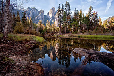 Reflections In River Photograph - View Of Cathedral Peaks by photos by Crow Carol Rukliss, Photographer