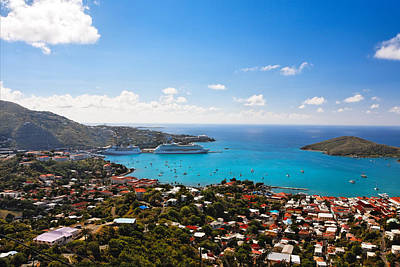 View Of Charlotte Amalie St Thomas Us Virgin Islands Print by George Oze