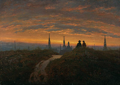 Carl Gustav Carus Painting - View Of Dresden At Sunset by Carl Gustav Carus