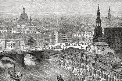 Capital Cities Drawing - View Of Dresden, Germany In The 19th by Vintage Design Pics