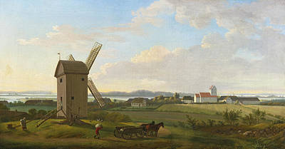 Painting - View Of Gamborg On Fyn by Jens Juel
