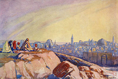 Bible Drawing - View Of Jerusalem, Palestine Seen From by Vintage Design Pics