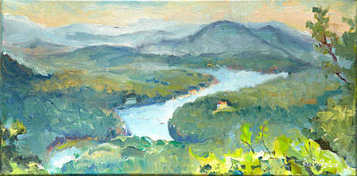 Landscape Painting - View Of Lake Lure From Chimney Rock by Lisa Blackshear