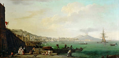 Lake Painting - View Of Naples And Mount Vesuvius by Celestial Images