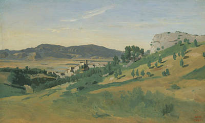 Italian Landscapes Painting - View Of Olevano by Jean-Baptiste-Camille Corot