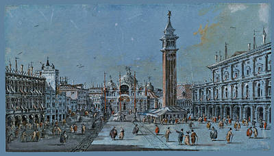 Piazza Drawing - View Of Piazza San Marco by Giacomo Guardi