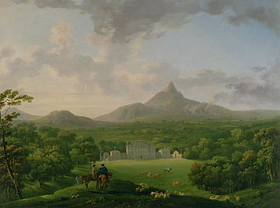 The Horse Painting - View Of Powerscourt - County Wicklow by George the Elder Barret