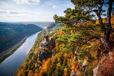 View Of River Elba. Saxon Switzerland Print by Jenny Rainbow