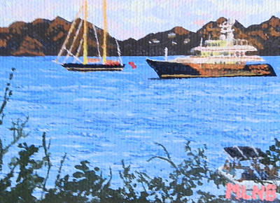View Of St. Martin From Anguilla Print by Margaret Brooks
