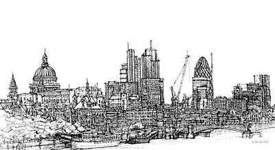 London Skyline Mixed Media - View Of St Pauls And The City  by Adendorff Design