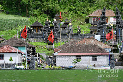 Mountain Photograph - View Of The Ancient Village Trunyan And Hindu Temple From Lake Batur, Bali, Indonesia by Dani Prints and Images