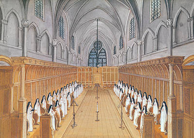 Religious Drawing - View Of The Choir by Louise Madelaine Cochin