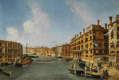 Michele Marieschi Painting - View Of The Grand Canal Venice With The Fondaco Dei Tedeschi by Michele Marieschi