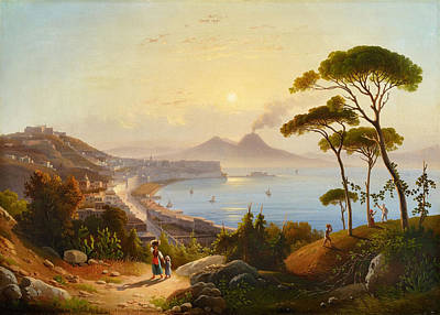 Painting - View Of The Gulf Of Naples by August Ahlborn