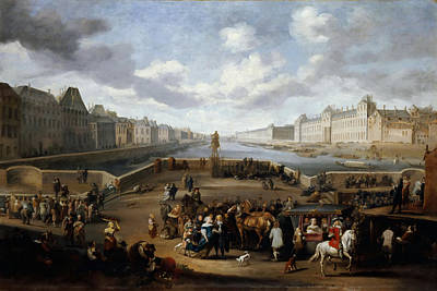 Louvre Painting - View Of The Louvre With The New Bridge by Celestial Images