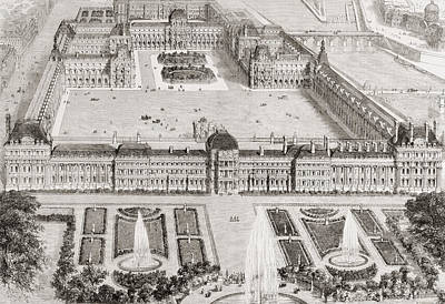 Louvre Drawing - View Of The New Gardens Of The by Vintage Design Pics