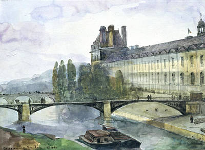 Boats In Water Painting - View Of The Pavillon De Flore Of The Louvre by Francois-Marius Granet