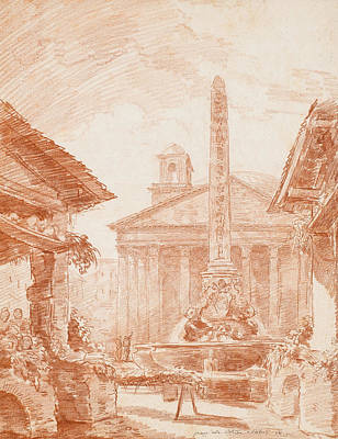 Pantheon Drawing - View Of The Piazza Della Rotonda In Rome With The Tritons Fountain And The Pantheon Facade by Hubert Robert