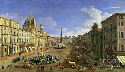 Italian Street Painting - View Of The Piazza Navona by Canaletto