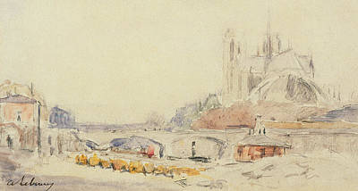 French Signs Drawing - View Of The Pont De La Tournelle And Notre-dame De Paris by Albert Charles Lebourg