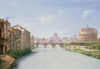 View Of The Ponte And Castel Sant'angelo In Rome Print by Christoffer-Wilhelm Eckersberg