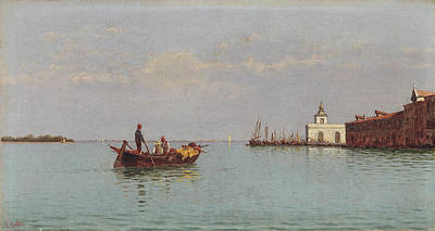 Painting - View Of The Punta Della Dogana With A Gondola In The Foreground by Pietro Galter