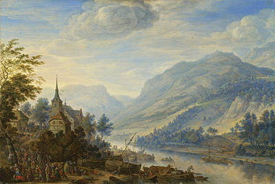 Herman Saftleven Painting - View Of The Rhine River Near Reineck by Herman Saftleven