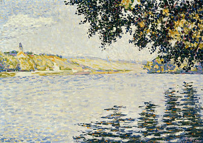Pointillist Painting - View Of The Seine At Herblay by Paul Signac