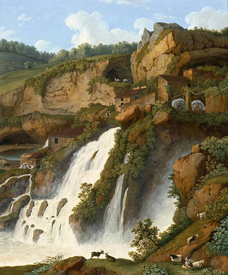 Painting - View Of The Waterfall At Anitrella With Goats Grazing Nearby by Jacob Philipp Hackert