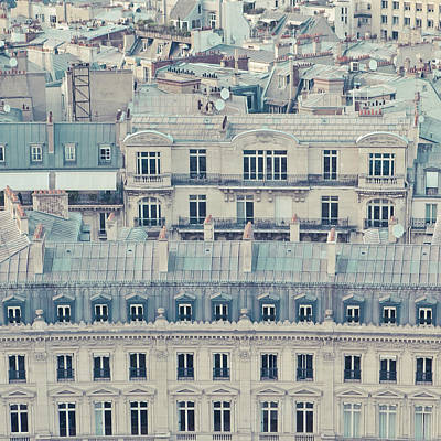 View Over Rooftops Of Paris Print by Cindy Prins