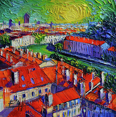 Chimneys. Flowers Painting - View Over The City Of Lyon France by Mona Edulesco