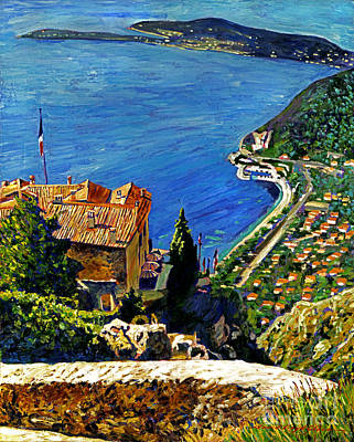 View Over The Riviera Print by David Lloyd Glover