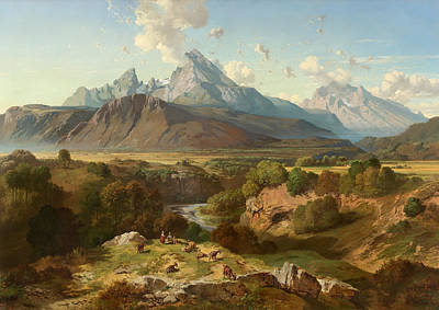 Wildlife Painting - View To Watzmann And Hochkalter by Celestial Images