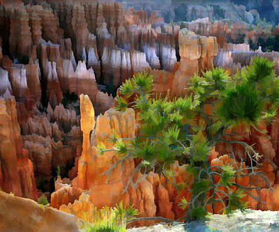 Impressionistic Digital Painting - Views Of The Hoodoos In Bryce Canyon National Park Utah by Elaine Plesser